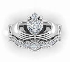 irish bridal jewelry claddagh ring heart 1ct zircon white