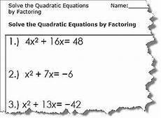quadratic equation worksheets printable pdf download