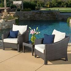 outdoor 3 piece brown wicker bistro with cushions ebay