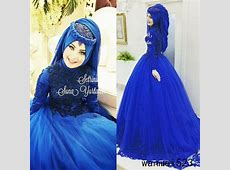 Royal Blue Muslim Wedding Dress Long Sleeve High Neck