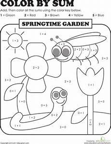 addition colouring worksheets year 1 9863 color by sum springtime garden toplama ve 231 ıkarma sınıf ve eğitim