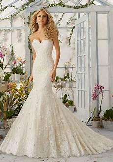 allover lace mermaid wedding dress with pearls style 2820 morilee