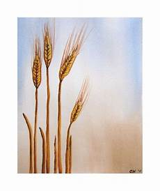 original watercolor painting wheat 9x12 inch