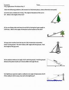 word problems trigonometry worksheets 11147 trig applications ws day 2 geo 14