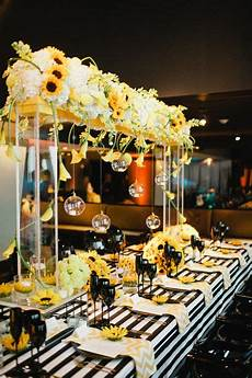 yellow and black sunflower theme wedding with stripes and chevron print photo bee
