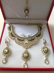 Parure Bijoux Or Mariage Parure Indienne Plaqu 233 Or Pierres Cristal Vert Bouteille