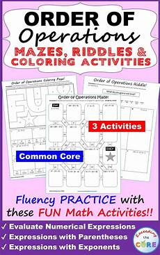 order of operations mazes riddles coloring pages fun