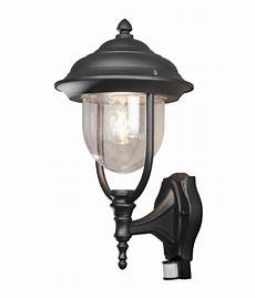 simple traditional pir black wall lantern with clear glass