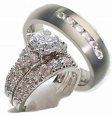 his hers 3 piece engagement wedding ring 925 sterling silver titanium ebay