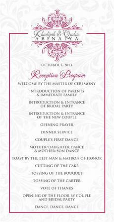 best wedding reception program ideas wedding reception program outline agenda wedding stationery for khadijah in 2019 wedding