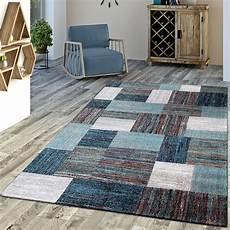 Designer Teppich Blau Meliert Kurzflor Modern Kurzflor