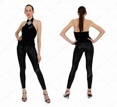 female model front and side back and front view of woman stock photo