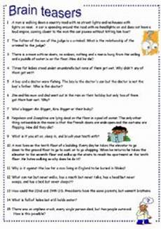 riddle worksheets high school 10914 worksheets brain teasers part 3
