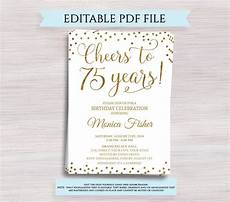 75th birthday card template editable 75th birthday invitation template cheers to