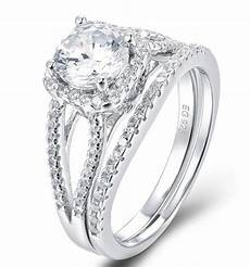 925 sterling silver halo cz wedding band engagement rings set size 3 12 ss2195 ebay