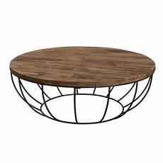 Table Basse Ronde Style Industriel En Bois Teck Pieds En