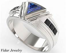unique triangle cut blue sapphire wedding ring for men s vidar jewelry unique custom