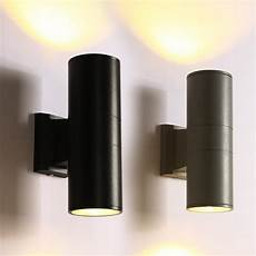 2019 black led outdoor wall sconce with metal cylinder shade modern decor up down dual head wall