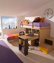 da letto con scrivania con letto e scaletta contenitore marzorati
