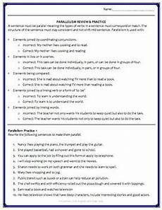 parallel sentence structure grammar worksheets powerpoint answer key