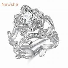 newshe 2 3 carats 925 sterling silver wedding ring flower shape engagement band classic