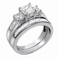 his hers 3 pcs black titanium matching band three stone princess cut sterling silver wedding