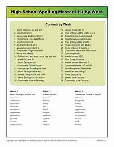 spelling worksheets for high school students 22411 highschool spelling words free 36 week curriculum