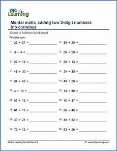 mental math worksheets addition and subtraction grade 4 addition worksheet adding two 2 digit numbers no