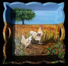 décaper peinture sur bois peinture sur bois acrylique plateau poule coq blanc
