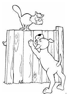 hund gegen katze ausmalbild malvorlage comics