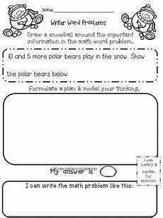 winter math word problems kindergarten and first grade by lazzaro