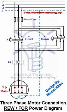 rev for three phase motor connection power and control diagrams electrical technology