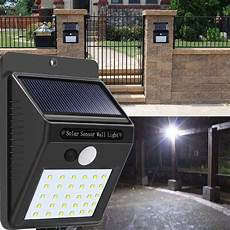solar power 30 led pir motion sensor wall light waterproof outdoor path yard garden security