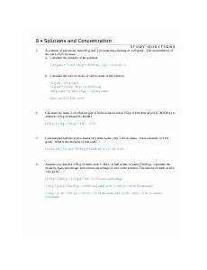 solutions and concentration worksheet answers 8