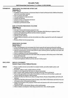 preschool teacher resume sles velvet
