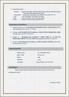 resume blog co resume sle for i t i instrument mechanics from n c v t having 7 years