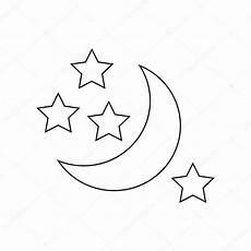 Malvorlagen Mond Und Sterne Mond Und Sterne Symbol Umriss Stil Stockvektor