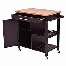 giantex rolling kitchen island trolley cart bamboo top storage cabinet utility