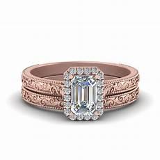 engraved emerald cut halo diamond wedding ring in