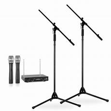 wireless microphone stands wireless microphone set with stands 2 vhf wireless microphones 2 microphone stands black