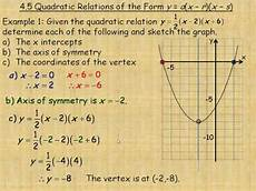 quadratic relations of the form y a x r x s youtube