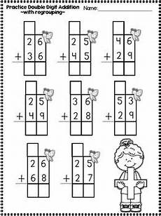 double digit addition and subrtraction printables with regrouping school second grade math