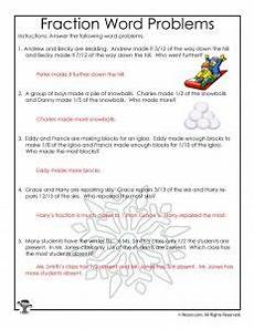 fraction word problems worksheet 3rd grade 11395 winter fractions word problems worksheets for 3rd grade woo jr activities