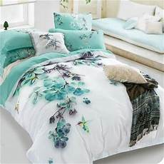 pale turquoise floral and bird print bedding sets queen