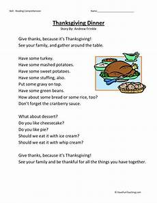 thanksgiving dinner worksheet reading comprehension worksheet thanksgiving dinner