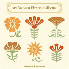 design fiori set of floral decoration in nouveau style vector