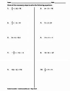 algebra worksheets solving equations 8570 solving two step equations practice worksheet ii by khalil tpt