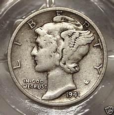 fine 1941 p 90 silver winged liberty mercury dime