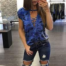 2017 v neck plus size lace up camouflage print short sleeve blouse oversize 2xl 3xl