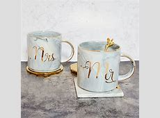 Tergi Mr and Mrs Ceramic Coffee Mugs Set of 2, Gold and
